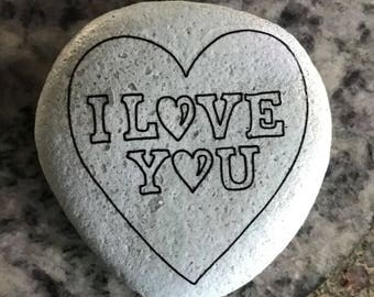 "Natural, Handmade Printed ""I Love You"" Stone. Unique Stone Art Gift."