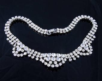 1950s Vintage Rhinestone Choker Necklace