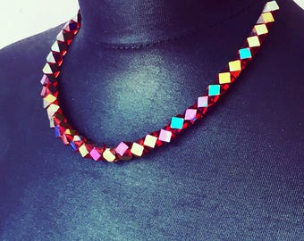 Necklace of rainbow crystalbeads from Czechia
