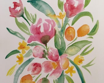 Apple Blossoms and Kumquats Watercolor PRINT