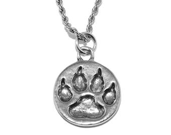 Small Totem Spirit -  Wolf Paw Print Necklace Pendant with Chain