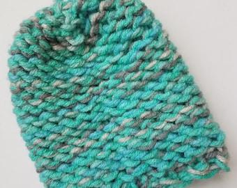 Turquoise & Gray Mitten Washcloth