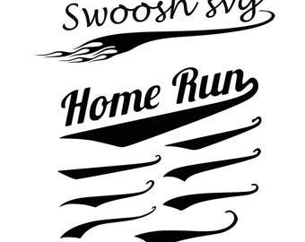 Text Tails set of 26, Swoosh SVG, Vector, Digital Cut File