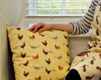 Pheasants and Chickens Print Cushion
