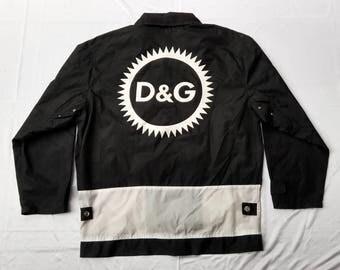 SALE!! Vintage D&G Dolce and Gabbana Light Jacket with huge Logo not chanel hermes fendi or versace