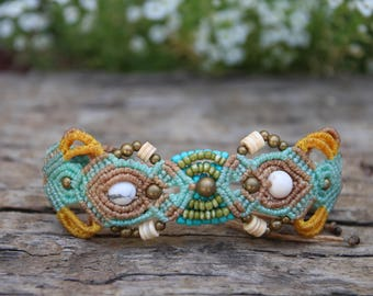 Micromacrame bracelet with brass, stone, shell and glass beads