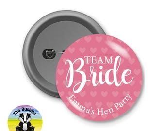 Custom Hen Party Badges, Custom Button Badges, Team Bride Badges, Personalised Badges, Personalized Badges, Hen Party Favours, Custom Badges