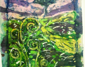 Ferns -  Signed print from an original batik, 40 cm x 20 cm