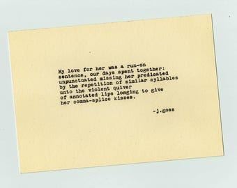 "Typewriter Poetry Print: ""Run-on sentence"""