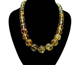 Natural Caribbean Amber Necklace Green Perfect Spheres