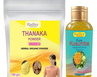 Thanaka Powder 100gm + Kusumba Oil 100 ml By Hadley Naturals