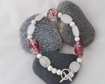 Pretty pink and silver bracelet with toggle clasp | For her | Ideal present