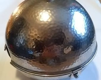 1950's Lined Hammered Stainless Steel Metal Teapot Cozy
