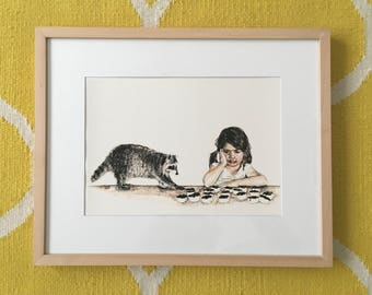 Sneaky raccoon and girl print illustration