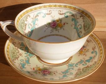 Vintage Paragon Bone China 'Countess' Cup & Saucer Set Gilt Yellows Aqua and Brown Scrolls Floral Mid-Century England