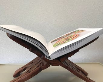 Beautiful Vintage Intricate Carved Wood Book Stand Recipe Book Stand Made in India