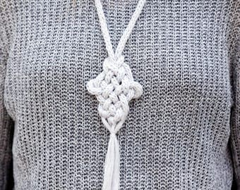 Celtic Knot Necklace, Knit Rope Necklace, Rustic Necklace, Knitted Necklace, Knotted Necklace, Linen Natural Necklace,  Long Boho Necklace