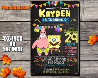 Spongebob Invitation / Spongebob Birthday Invitation / Spongebob Printable / Boy Birthday Invitation / Birthday Invitation / Invitation
