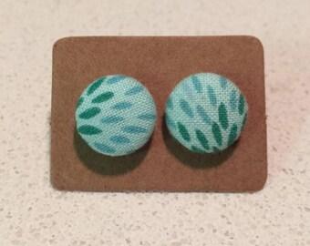Mint & aqua fabric stud earrings