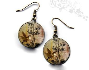 Earrings vintage birds cabochons. R148