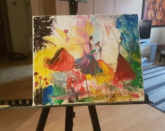 Ballerinas modern abstraction  Original hand painted  oil painting