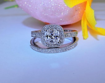 1.50 CT Art Deco Engagement Ring - Solid 14k White Gold Promise and Anniversary Halo Ring.