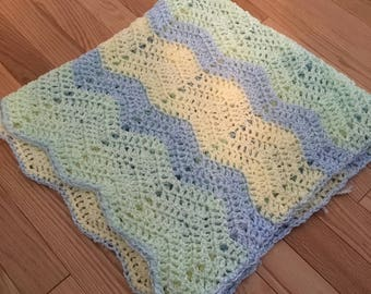 Wavy Green, Yellow, and Blue Baby Blanket