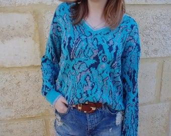 Vintage 1980's Blue Patterned Sweater