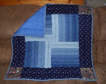 Handmade Baby Quilt, Blue floral print, boy or girl, baby shower, 34 1/2 X 34 1/2 in