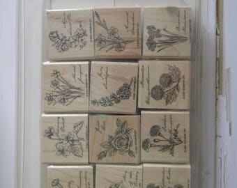 Rubber Stamps, Flowers of the month stamp set, new & used