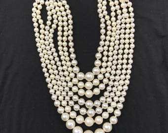 Vintage Pearl Mulitstrand Necklace, Faux Pearl Necklace, Multistrand Vintage Necklace, Pearl Bridal Necklace, Bridal Necklace