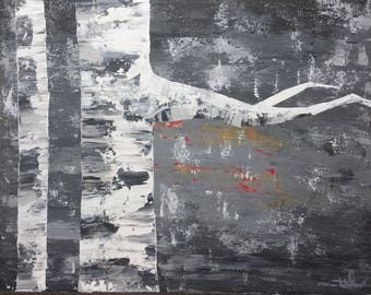 16 inch by 20 inch, original acrylic painting, birch trees at night created in an abstract technique