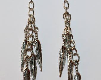 Feather dangle earrings, feather earrings