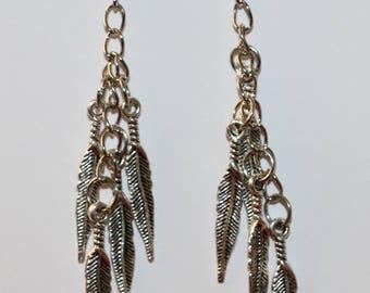 Feather dangle earrings, feather earrings