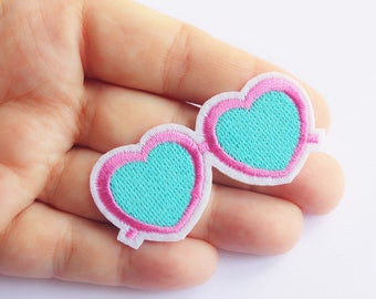 Heart Sunglasses Patch Pink glasses Iron on Patch Lolita Embroidered Applique Patches 5,5 cm