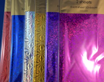 New Holographic foil sheets - 2 pack 50 x66cm scrap booking gift wrapping 6 colours