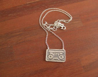 Stirling Silver Etched Boom Box Pendant