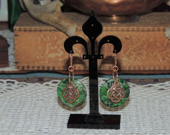 Green and copper Celtic style earrings