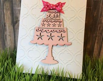 Handmade Embossed Birthday Cake Card