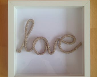 Gold Rope Word Art White Picture Frame - Love
