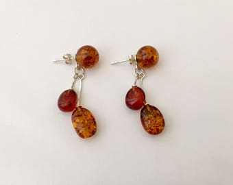 Handmade Amber Dangle Drop Silver Back Pierced Earrings