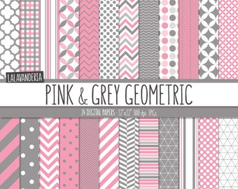 Geometric Digital Paper Package with Pink and Grey Backgrounds. Printable Papers - Pink and Gray Geometric Patterns. Digital Scrapbook