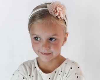 Toddler Girl children two toned chiffon flower headband soft pale pink beige gift