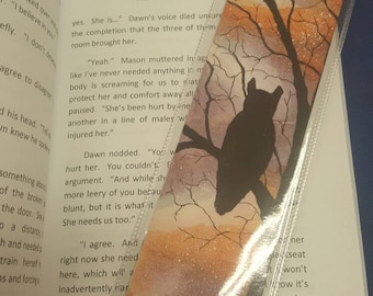 One of a kind owl silhouette watercolour bookmark