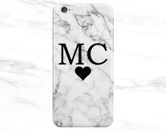 Personalised Name initials with Heart White Marble Phone Case Cover for Apple iPhone 5 6 6s 7 8 Plus & Samsung Galaxy Customized Monogram