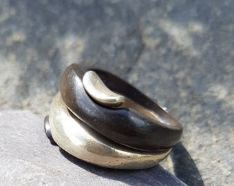 Oxidised 925 Silver Stacking ring