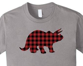 Triceratops Dinosaur T-Shirt - Hipster Buffalo Plaid