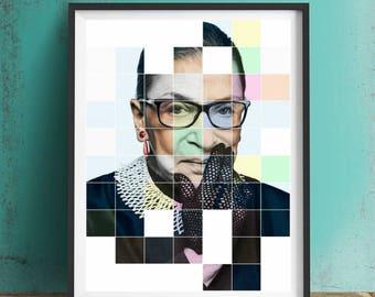 Ruth Bader Ginsburg RBG Art Print or Canvas, Artwork, Wall Art