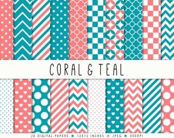 Teal Coral Pink Digital Paper Commercial Use Teal Turquoise Polka Dots Chevron Quatrefoil Hearts Aqua Pink Paper