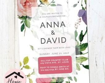 Floral Wedding Shower Invitation, Printable Couples Wedding Shower Invite, Engagement Party, Bridal Shower, Couple's Shower 0147